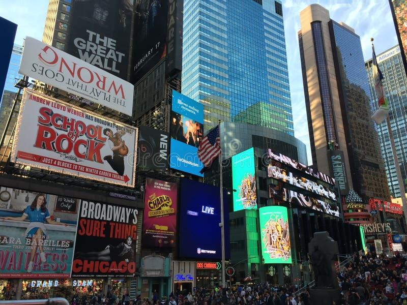 Van de de bouwschool van New York Times Vierkante musicale van de rotsbroadway comédie stock fotografie
