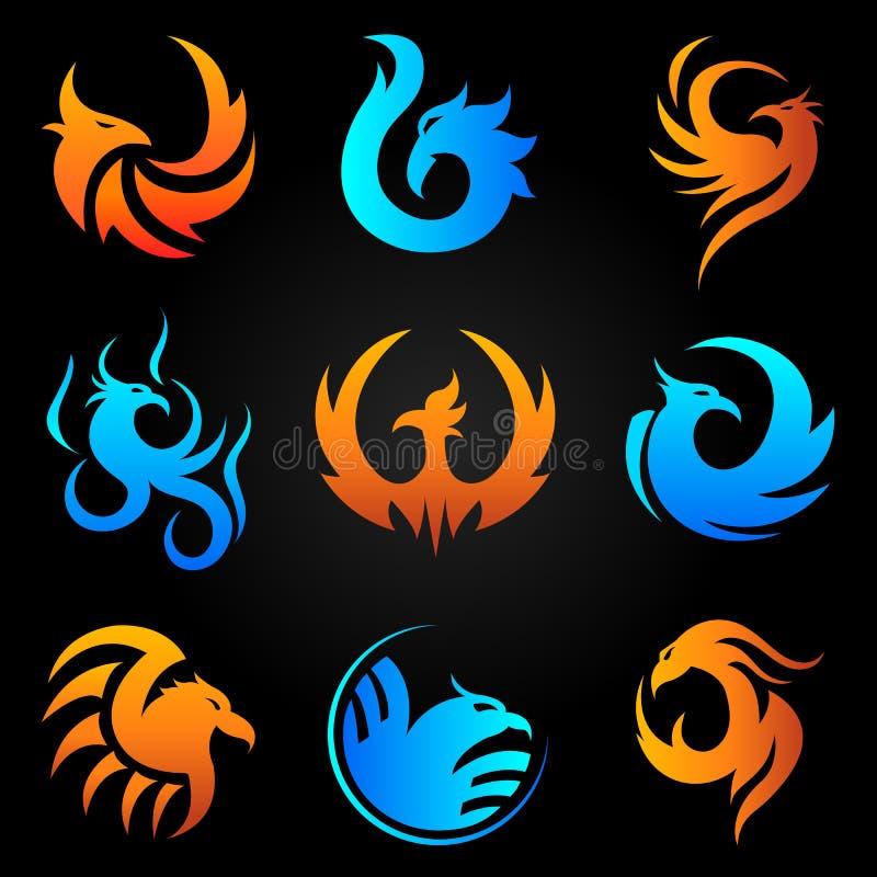 Van de de brandvogel van Phoenix vector geplaatste het malplaatjepictogrammen royalty-vrije illustratie