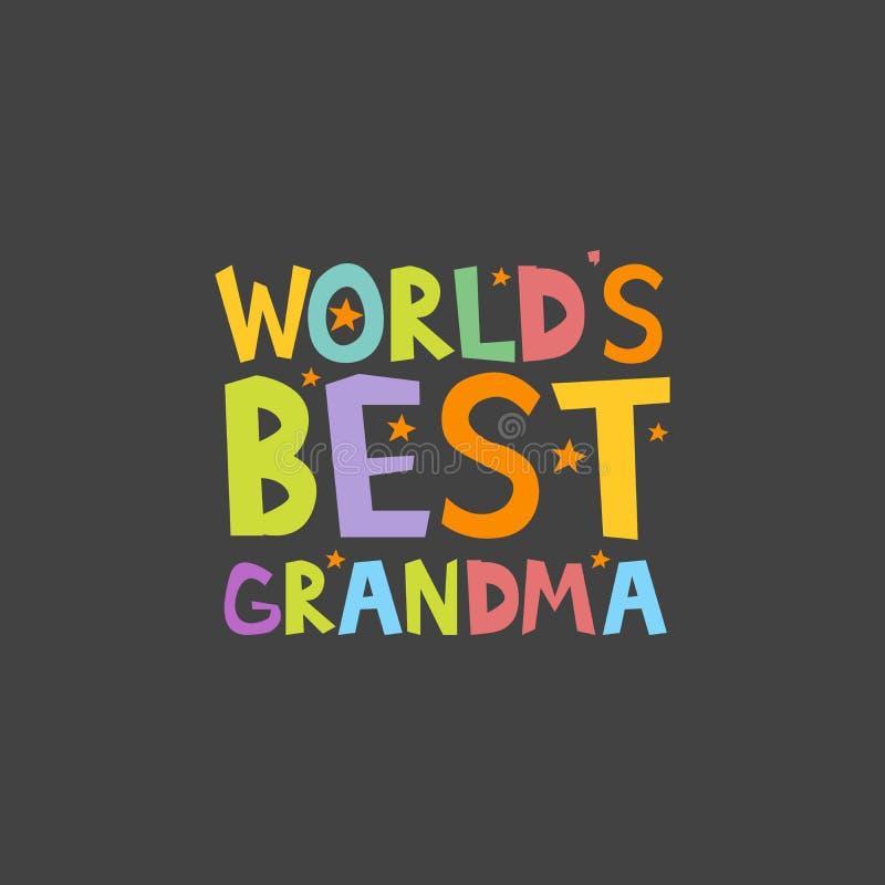 Van de de brievenpret van de werelden Beste Oma van de de jonge geitjesstijl de drukaffiche Vector illustratie royalty-vrije illustratie