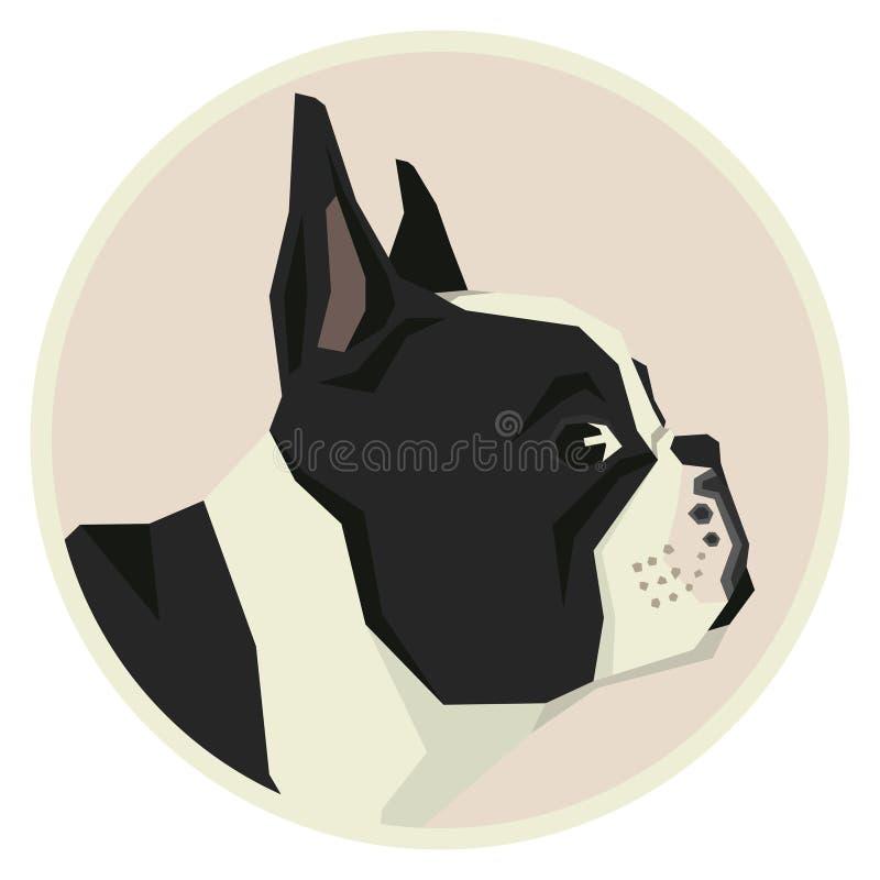 Van de de Buldog Geometrische stijl van de hondinzameling Franse het pictogramronde vector illustratie