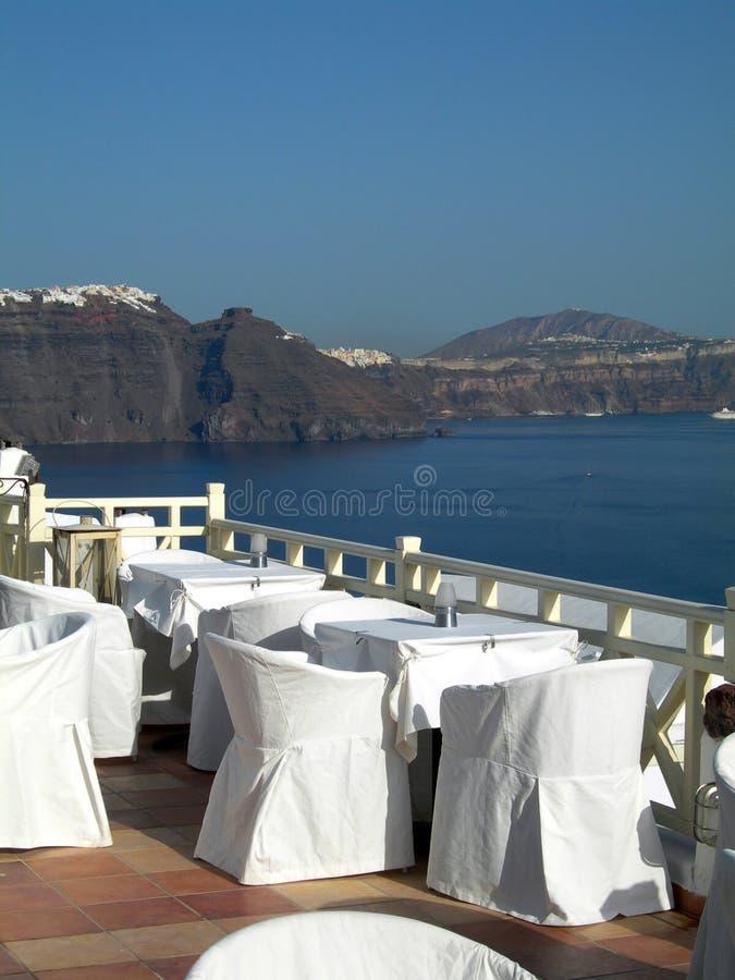 Van de de calderamening van het restaurant santorini Griekse eilanden stock afbeeldingen