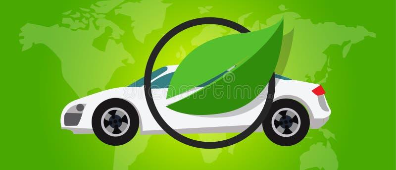 Van de de celauto van de waterstofbrandstof eco milieuvriendelijk emissieloos groen blad royalty-vrije illustratie