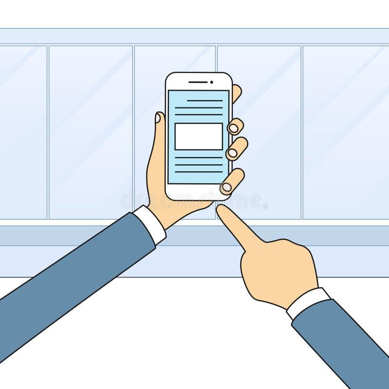 Van de de Celtelefoon van de handenholding het Slimme de Aanrakingsscherm Moderne Technologie royalty-vrije illustratie
