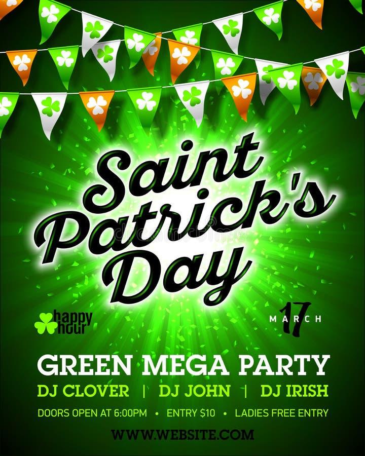 Van de de Dag groene megapartij van heilige Patrick ` s de uitnodigingsaffiche royalty-vrije illustratie