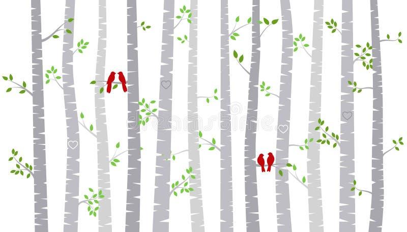 Van de de Dagberk van Valentine ` s de Boom of Aspen Silhouettes met Dwergpapegaaien royalty-vrije illustratie