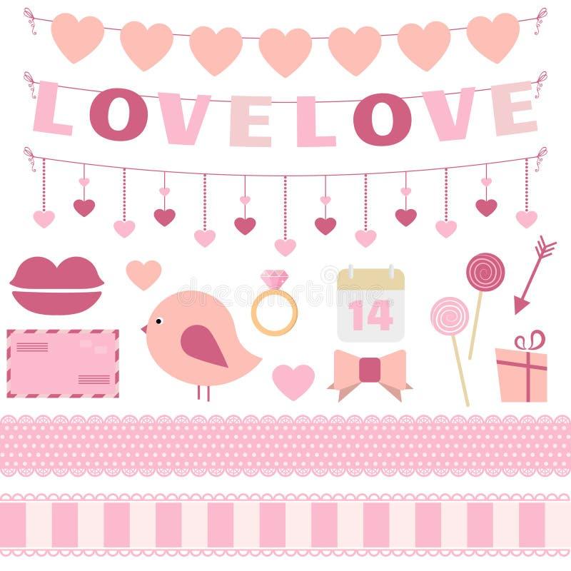Van de de Dagdecoratie van Valentine de vectorreeks royalty-vrije illustratie