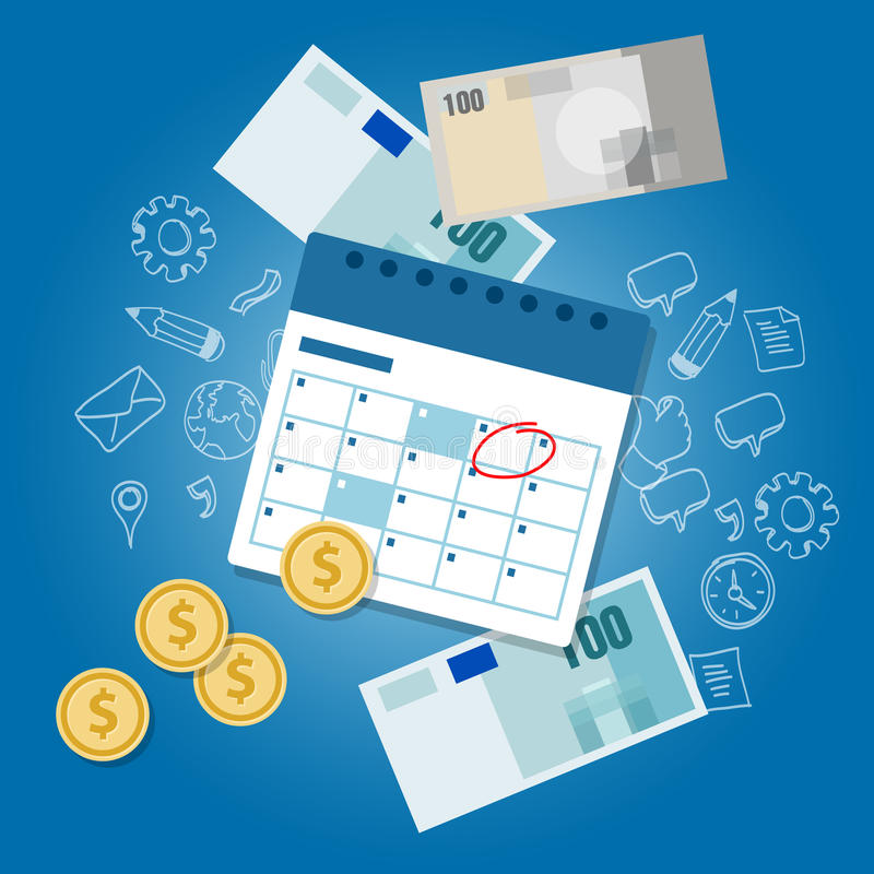 Van de de dagkalender van het betalingsprogramma achterstallige het geld van de de betaaldaguiterste termijn royalty-vrije illustratie