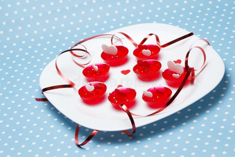 Van de de dagliefde van Valentine de gelatinewoestijnen stock afbeeldingen