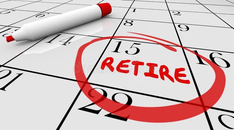 Van de de Datum het Omcirkelde Kalender van de pensioneringsdag de Aftelprocedureeinde Werken royalty-vrije illustratie