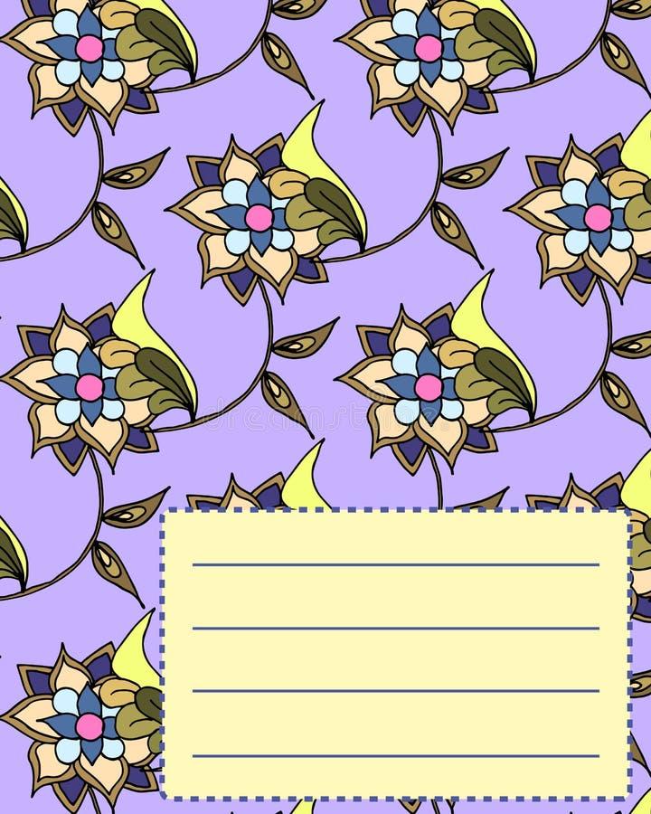 Van de de dekkingsprentbriefkaar van het schoolnotitieboekje de uitnodigingssteekproef met bloemen vector illustratie