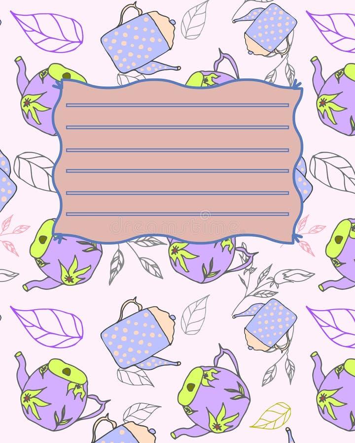 Van de de dekkingsprentbriefkaar van het schoolnotitieboekje de uitnodigingssteekproef met theepotten stock illustratie