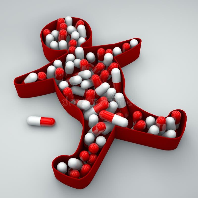 Van de de depressieslapeloosheid van het persoonssilhouet het medicijnpillen vector illustratie