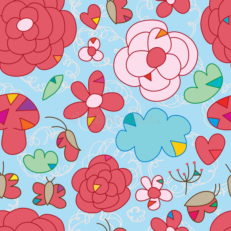 Van de de driehoeksgelijke van de bloemvlinder het naadloze patroon royalty-vrije illustratie