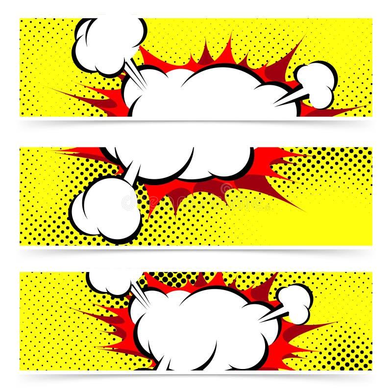 Van de de explosiestoom van het pop-art grappige boek footer van de de wolkenkopbal collectio royalty-vrije illustratie