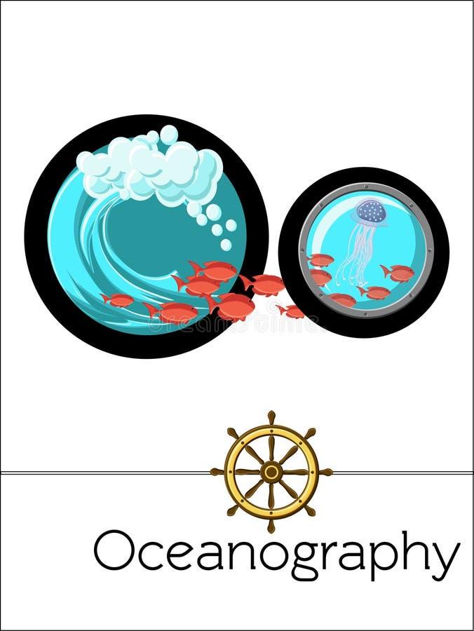 Van de de flitskaart van het wetenschapsalfabet de brief O is voor Oceanografie stock illustratie