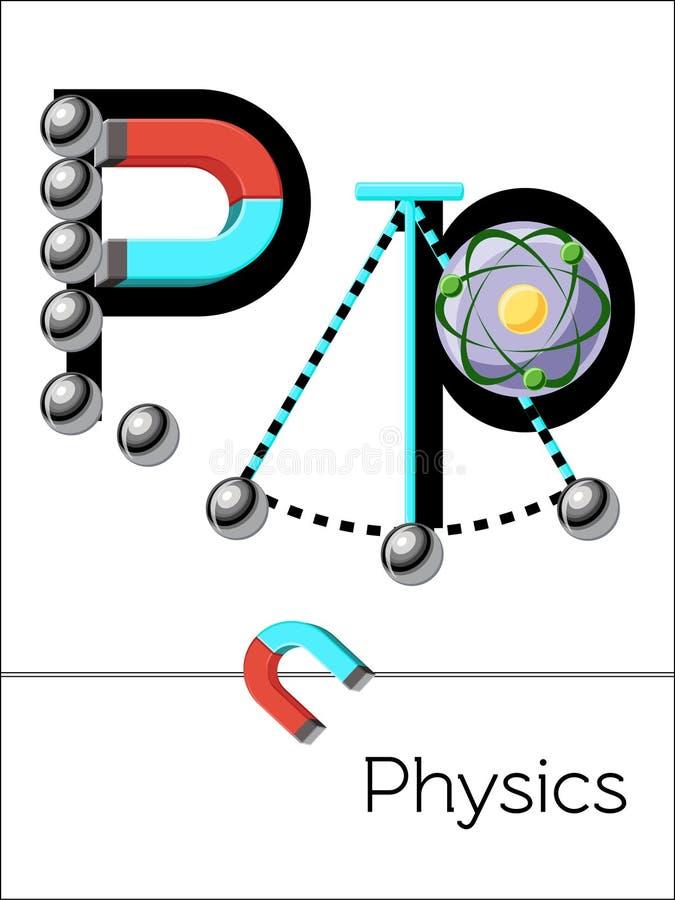Van de de flitskaart van het wetenschapsalfabet de brief P is voor Fysica stock illustratie