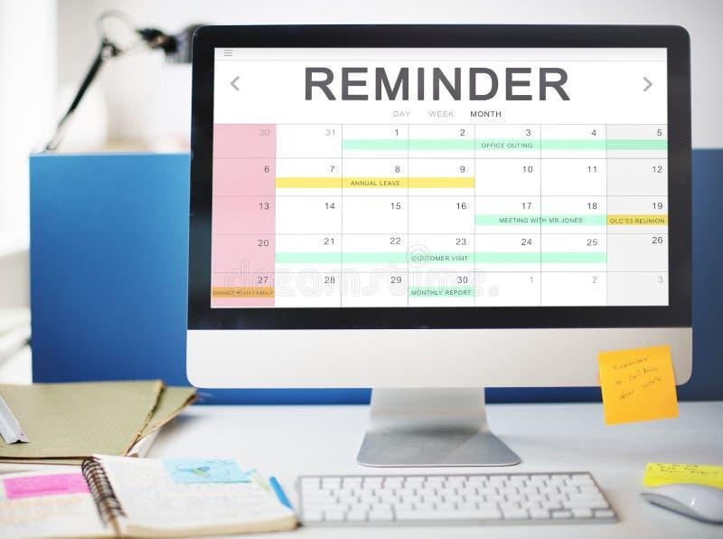 Van de de Gebeurtenisvergadering van de kalenderagenda van het de Herinneringsprogramma het Grafische Concept royalty-vrije stock afbeelding