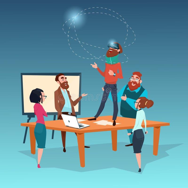 Van de de Glazen Visuele Werkelijkheid van de bedrijfsmensenslijtage de Digitale Vergadering van de het Zakenluigroep vector illustratie