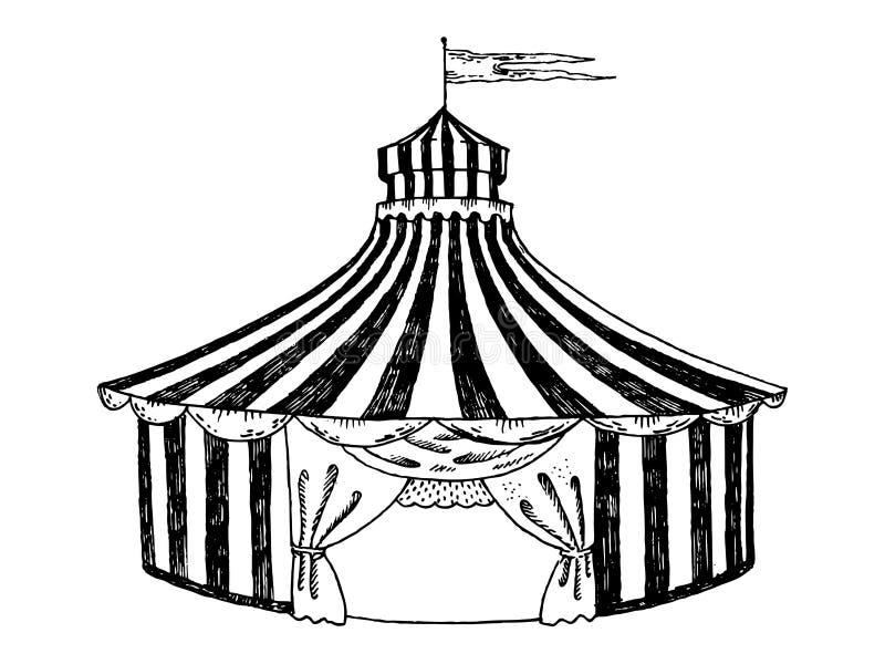 Van de de gravurestijl van de circustent de vectorillustratie stock illustratie