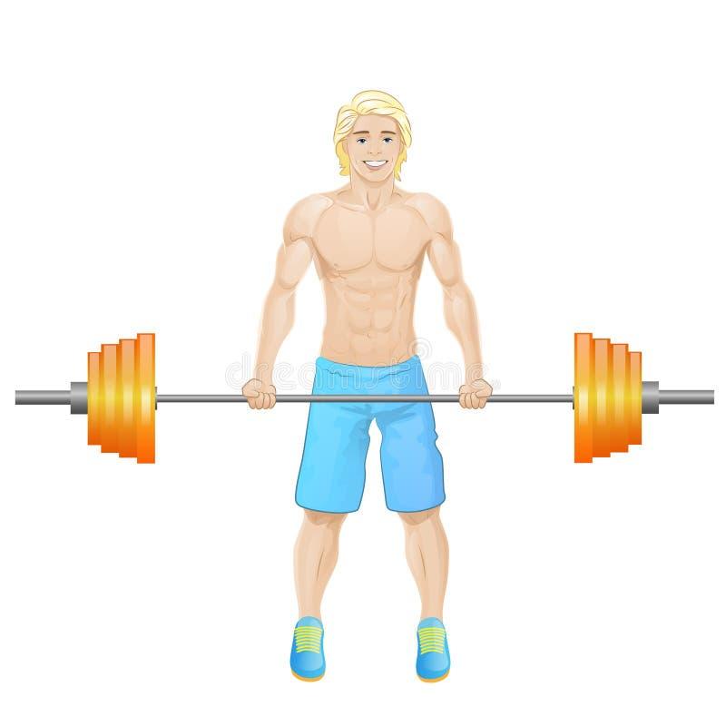 Van de de greep barbell bodybuilder van de sportmens de atletische spier stock illustratie