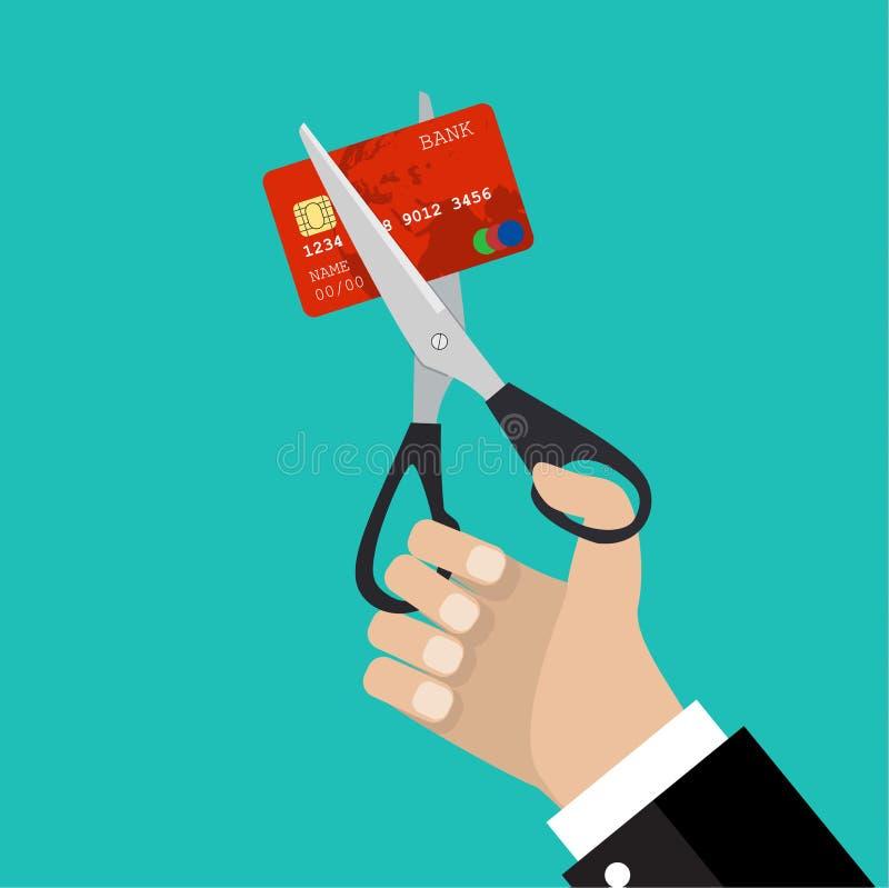 Van de de greepschaar van de zakenmanhand de scherpe creditcard vector illustratie