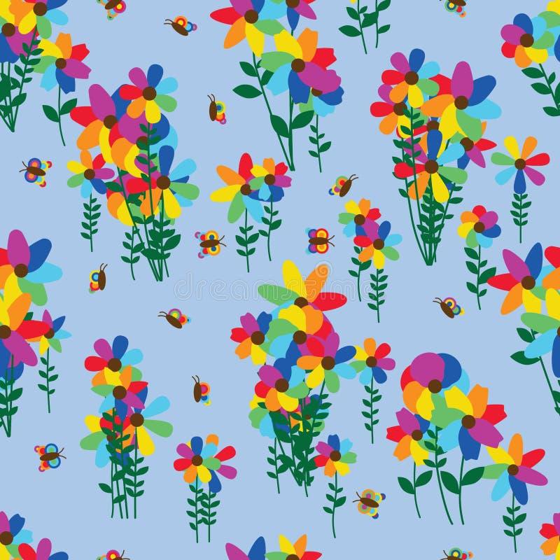 Van de de groepsvlinder van de regenboogbloem het naadloze patroon vector illustratie
