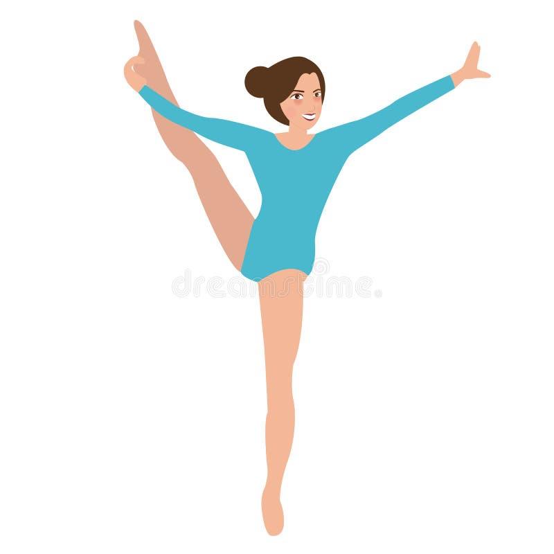 Van de de gymnastiekbeweging van het vrouwenmeisje stelt de vrouwelijke van de de positiesport de prestatiesacrobaat stock illustratie