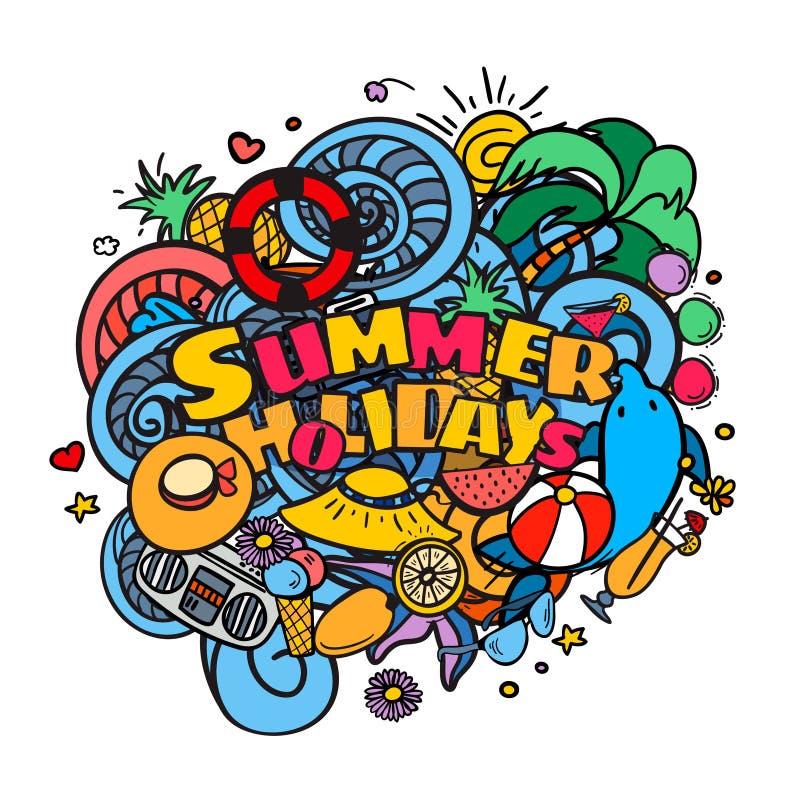 Van de de hand het van letters voorzien en krabbel van de de zomervakantie elementenachtergrond vector illustratie