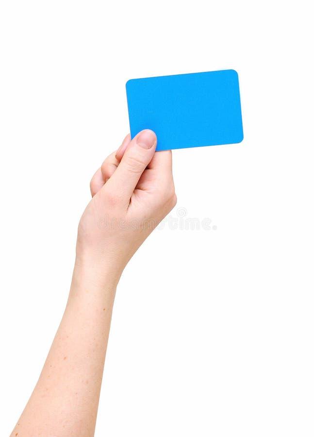 Van de de handgreep van de vrouw de lege kaart stock foto's
