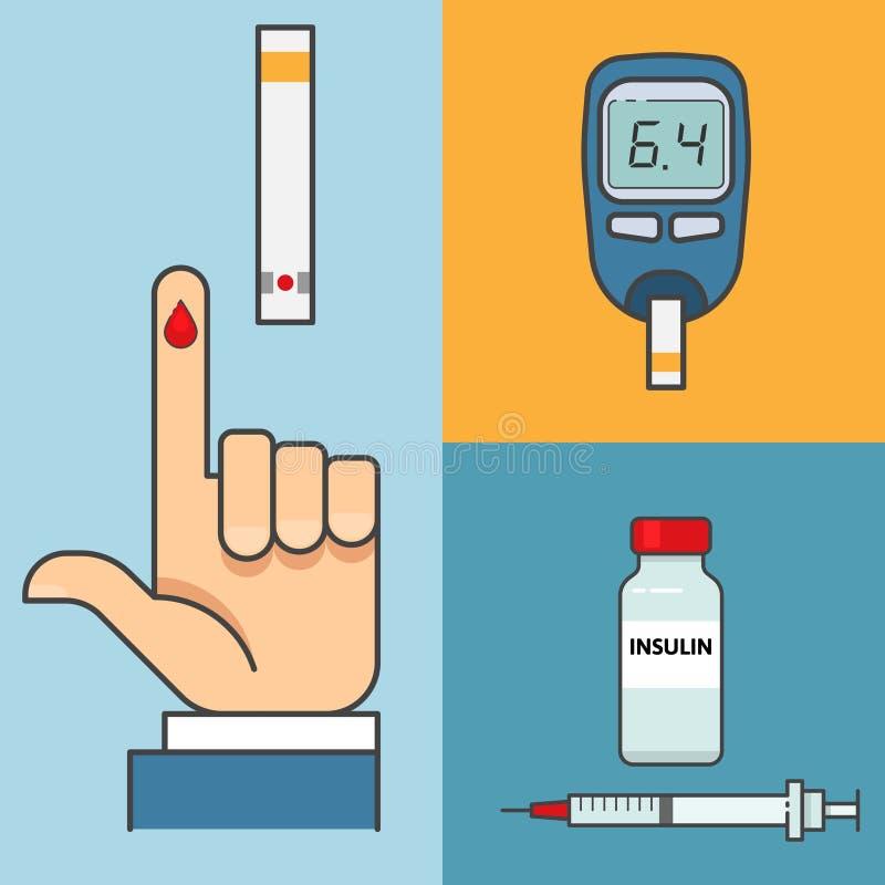 Van de de Handholding van het suikerbloedonderzoek de Glucosemeter insuline stock illustratie