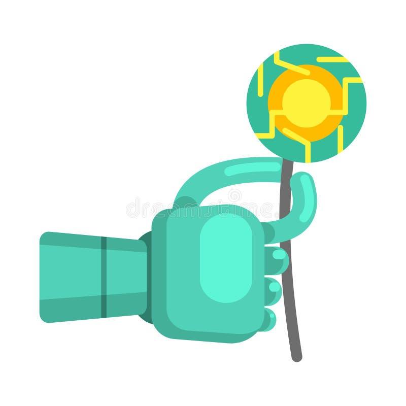 Van de de Handholding van metaalandroid de Elektronische Bloem, een Deel van Futuristische Robotachtige en IT Wetenschapsreeks Be vector illustratie