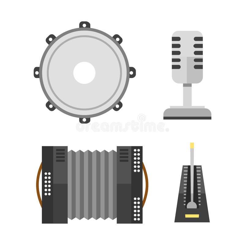 Van de de harmonikamicrofoon van het pianotoetsenbord van de de tamboerijnharmonika muzikale het instrumenten vectorillustratie e vector illustratie