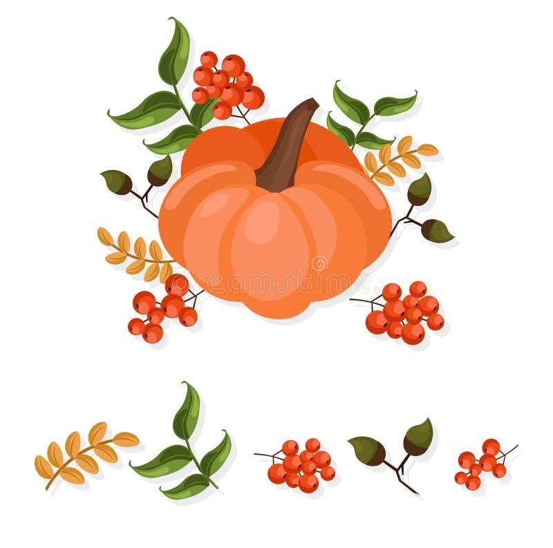 Van de de herfstoogst van het pompoendecor festival van de de illustratiekaart het vector stock illustratie