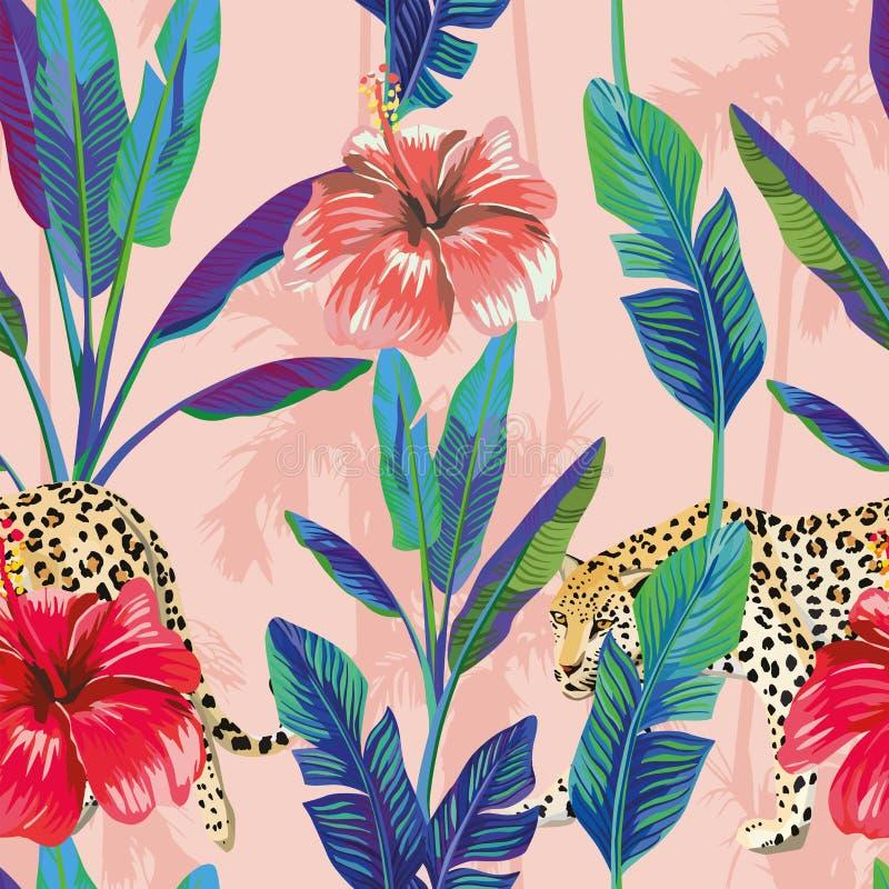 Van de de hibiscusluipaard van banaanbladeren naadloze het patroon roze palm royalty-vrije illustratie