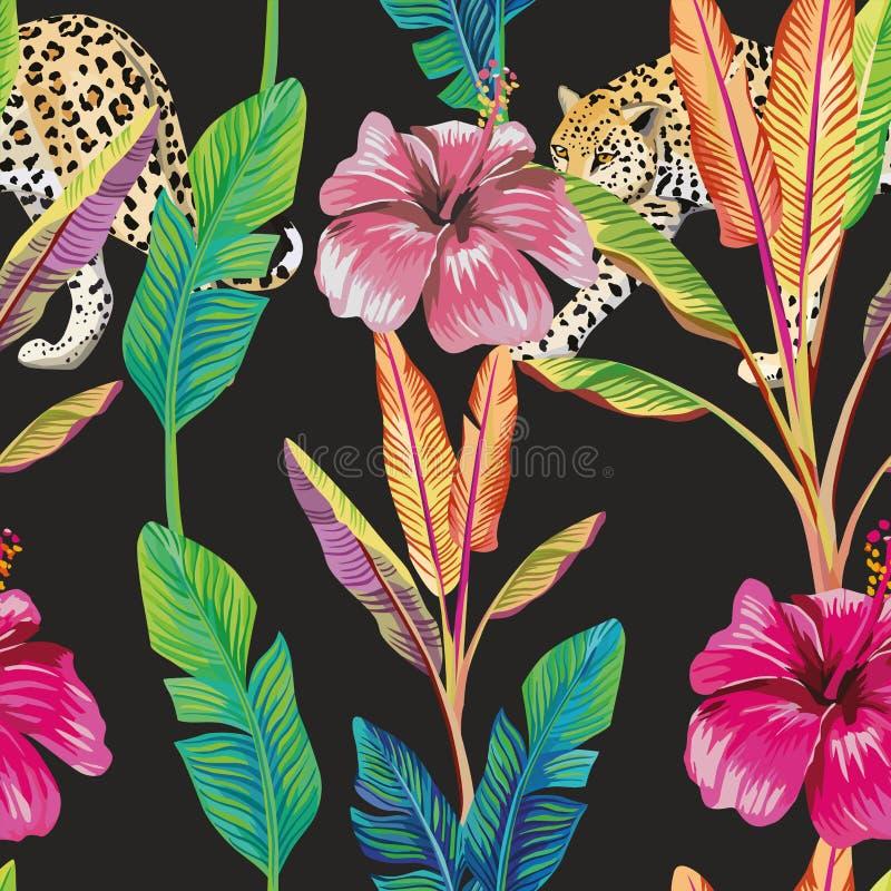 Van de de hibiscusluipaard van banaanbladeren naadloze het patroon zwarte achtergrond stock illustratie
