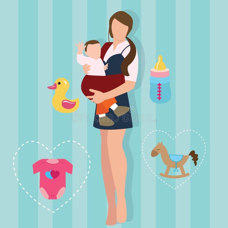 Van de de holdings dragend baby van de vrouwenmoeder de dragerkind met de ouder nieuw mamma van de slingerliefde royalty-vrije illustratie
