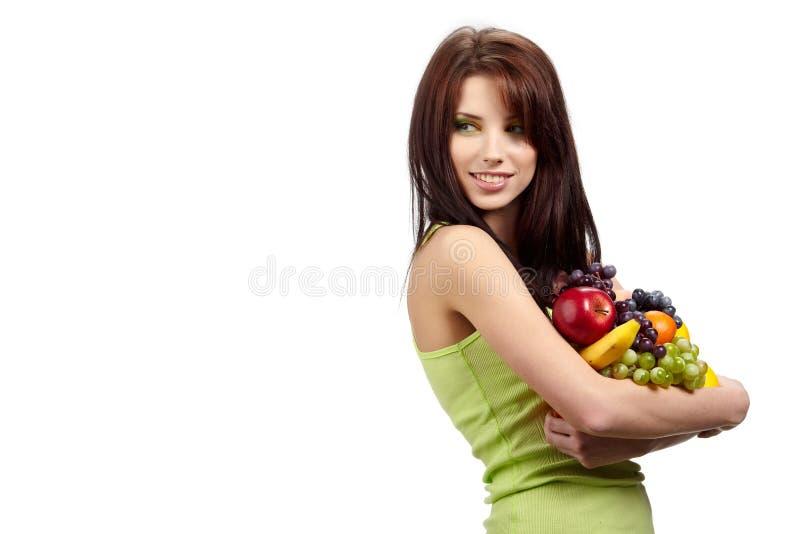 Van de de holdingszak van de vrouw het volledige gezonde voedsel royalty-vrije stock foto's