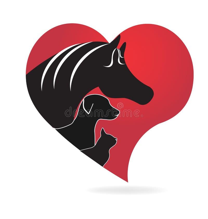 Van de de hondpaard en kat van de dierenliefde silhouettenembleem royalty-vrije illustratie