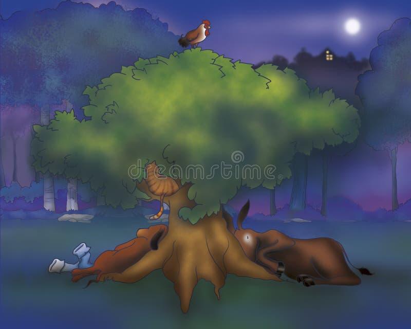 Van de de hondrooster en kat van het paard slaap stock illustratie