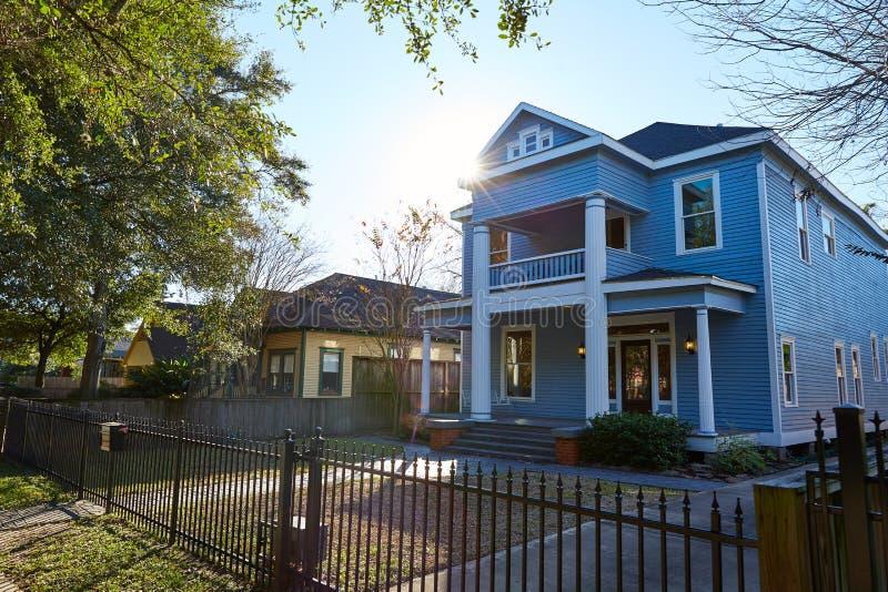 Van de de hoogten victorian stijl van Houston huizen Texas royalty-vrije stock afbeelding