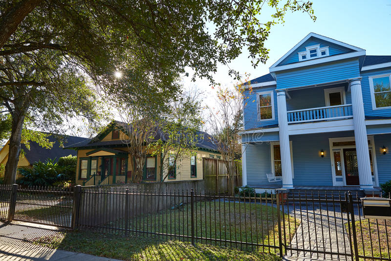 Van de de hoogten victorian stijl van Houston huizen Texas stock foto