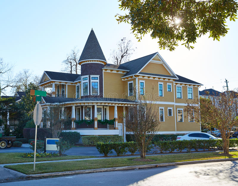 Van de de hoogten victorian stijl van Houston huizen Texas royalty-vrije stock afbeeldingen