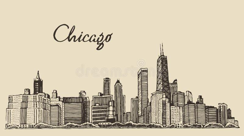 Van de de horizon grote stad van Chicago getrokken de gravurevector royalty-vrije illustratie