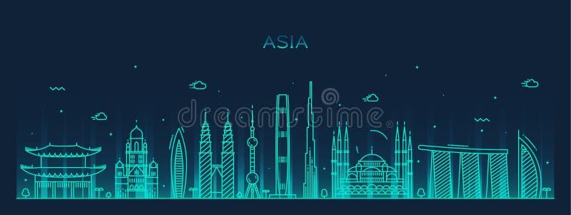 Van de de horizon In vectorillustratie van Azië de lijnart. vector illustratie
