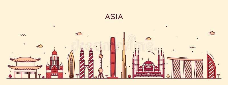 Van de de horizon In vectorillustratie van Azië de lijnart. stock illustratie