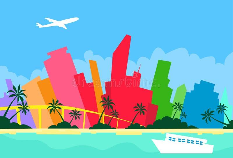 Van de de Horizonstad van Miami Abstract de Wolkenkrabbersilhouet vector illustratie