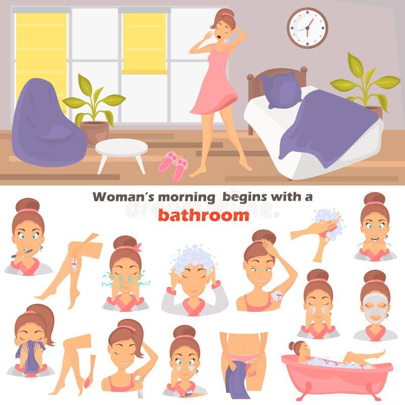 Van de de hygiënekleur van het ochtendmeisje de vlakke geplaatste pictogrammen Meisje het wekken bij de ruimteillustratie voor We stock illustratie