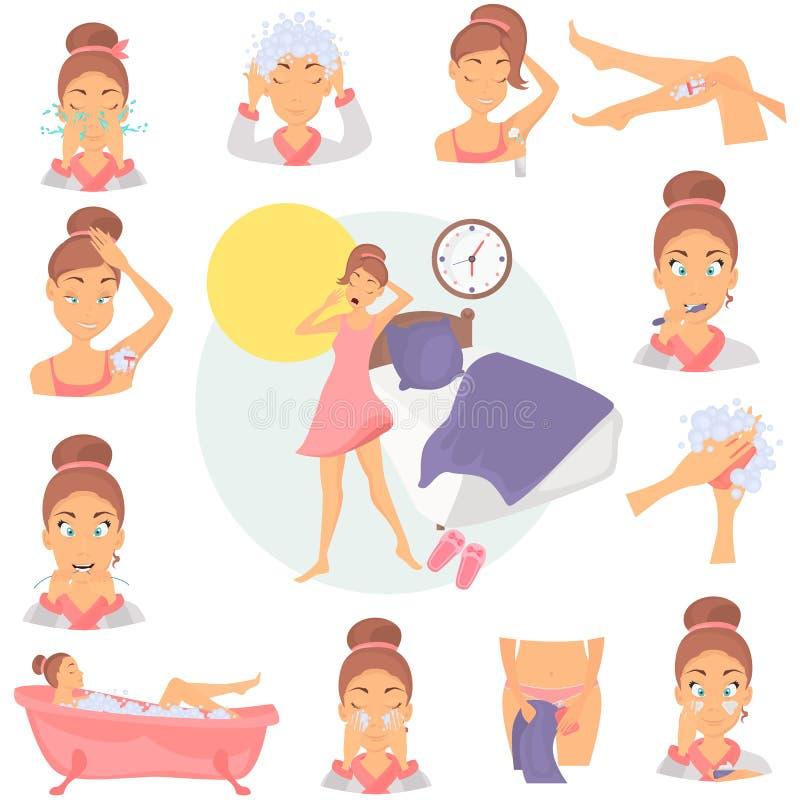 Van de de hygiënekleur van het ochtendmeisje de vlakke geplaatste pictogrammen Meisjes wekkende illustratie voor Web en mobiel on royalty-vrije illustratie
