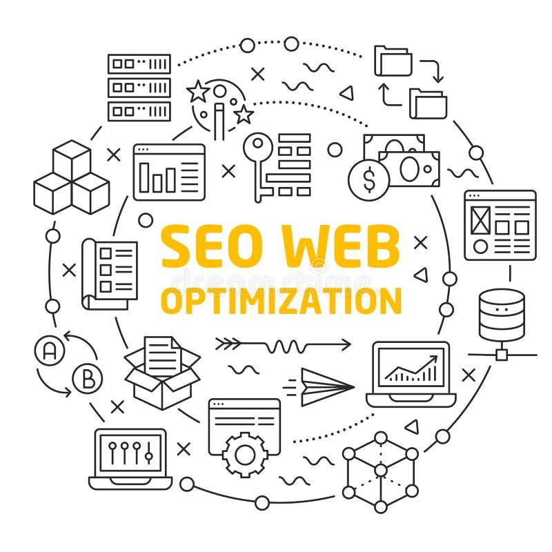 Van de de illustratiecirkel van lijnenpictogrammen de optimalisering van het seoweb royalty-vrije illustratie