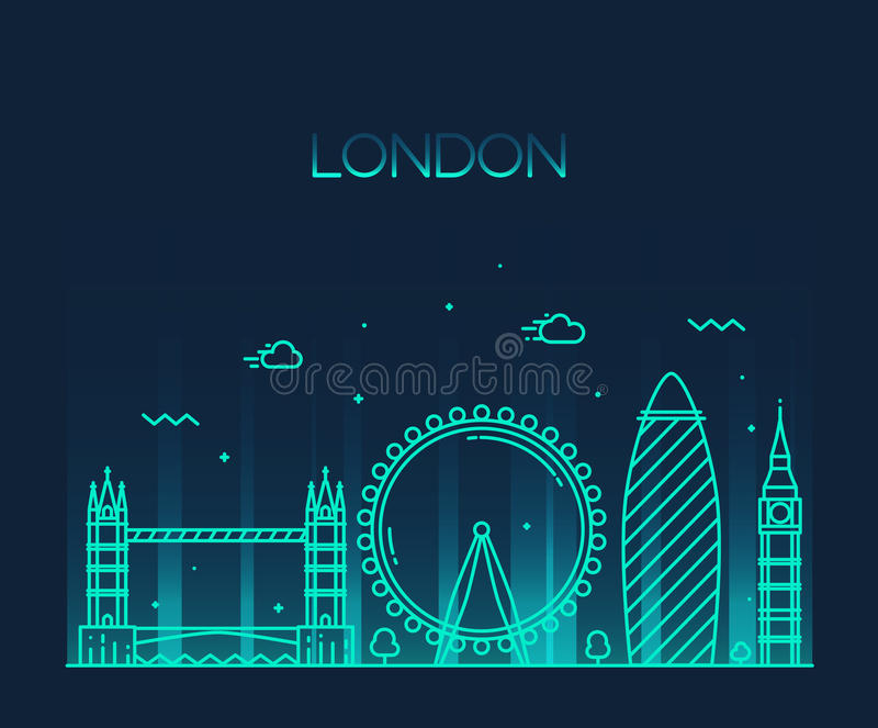Van de de illustratielijn van Londen Engeland In de kunststijl royalty-vrije illustratie